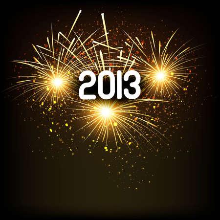 twenty thirteen: 2013 Happy new year reflection celebration bright colorful background  Illustration