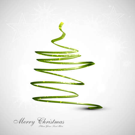 merry christmas card stylish tree green colorful vector  Vector