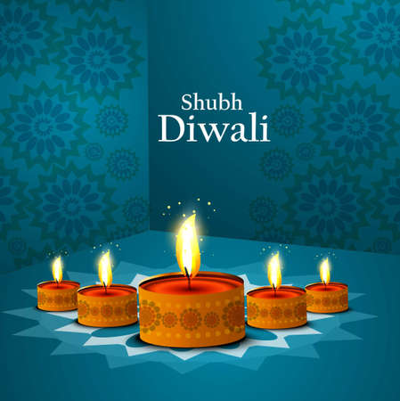 Happy diwali beautiful illuminating Diya blue colorful vector design Vector