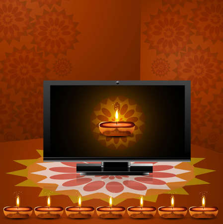 Happy diwali beautiful led tv screen celebration colorful background vector Stock Vector - 18048935