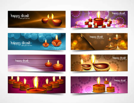 happy diwali stylish bright colorful set of headers collection design Vector