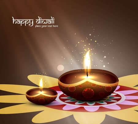happy diwali beautiful card design vector Vector