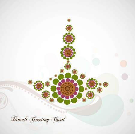 happy diwali card artistic diya colorful vector background Stock Vector - 18048939