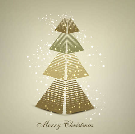 merry christmas stylish tree card colorful vector background Vector