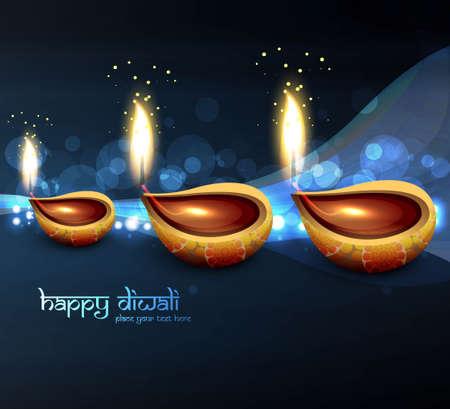 happy diwali blue beautiful card vector design Vector