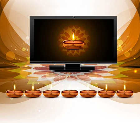 Happy diwali beautiful led tv screen celebration shiny colorful wave vector Stock Vector - 18048936