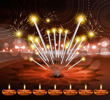 happy diwali festival crackers bright colorful vector design Stock Vector - 18048940