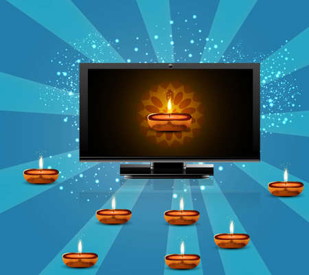 Happy diwali beautiful led tv screen blue colorful background vector Vector