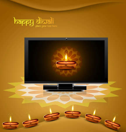 Happy diwali beautiful led tv screen celebration shiny colorful background Stock Vector - 18048963