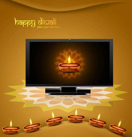 Happy diwali beautiful led tv screen celebration shiny colorful background Stock Vector - 18048963
