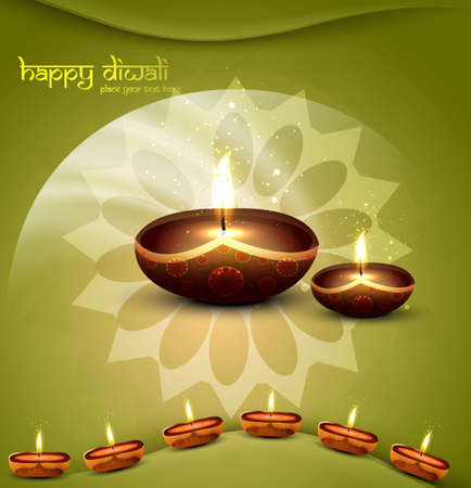 happy diwali green beautiful card vector  Vector