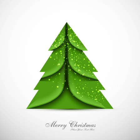 merry christmas card green tree colorful vector Stock Vector - 18088928