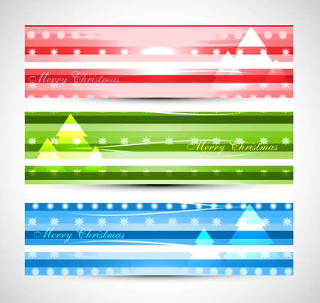 merry christmas tree colorful header set design vector Vector