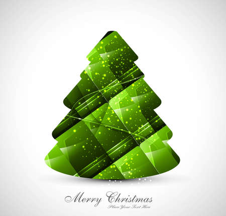 merry christmas stylish green tree texture colorful whit background vector Vector