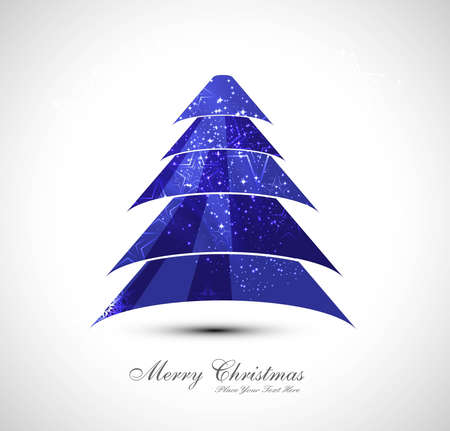 merry christmas stylish blue tree colorful whit background  Vector