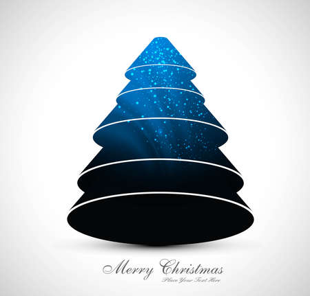 merry christmas stylish blue tree colorful design Vector