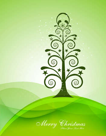 merry christmas card tree green colorful wave vector Vector