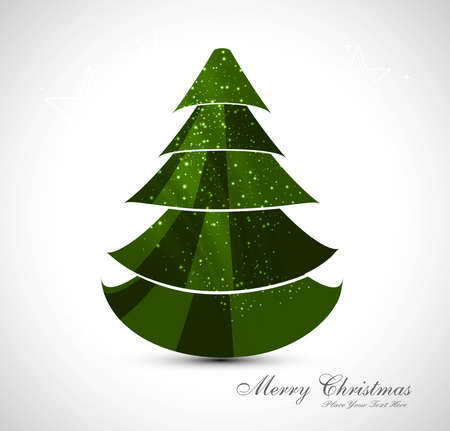 merry christmas stylish tree colorful whit background design vector Vector