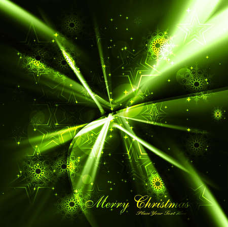 merry christmas celebration bright green colorful wave background vector Stock Vector - 18117191