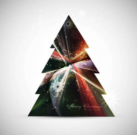 merry christmas stylish tree colorful card whit background  Vector