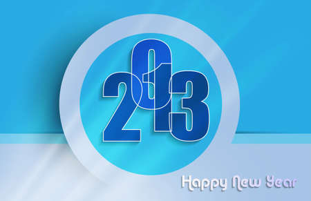 2013 Happy new year circle blue colorful background  Vector