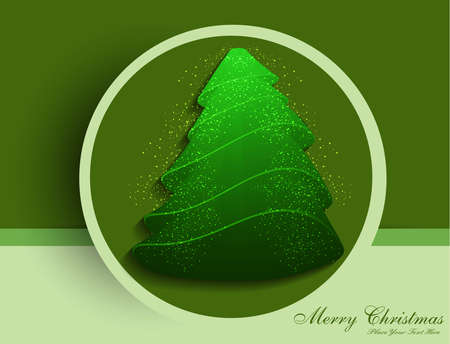 merry christmas tree circle celebration green colorful card vector Vector