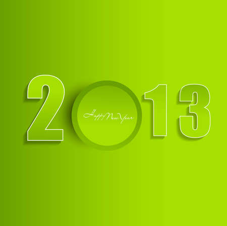 Happy new year 2013 green colorful fantastic vector Stock Vector - 18153403