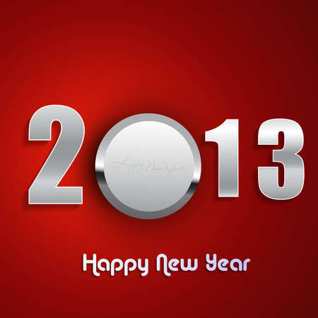 twenty thirteen:  new year 2013 shiny metal colorful red background vector