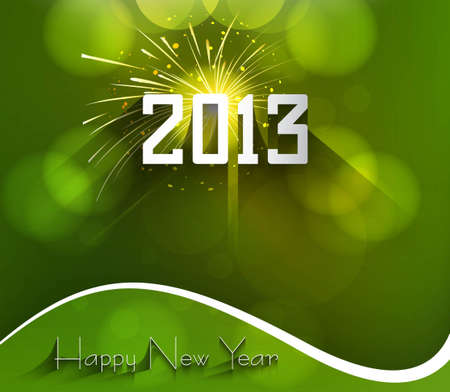 Happy new year 2013 green colorful celebration circle vector background