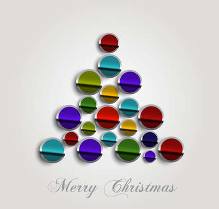 merry christmas stylish circle icon tree colorful whit background vector Stock Vector - 18153397