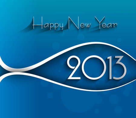 New year shiny stylish 2013 bright blue wave colorful vector design Vector