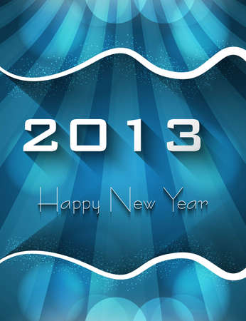 New year shiny stylish 2013 bright blue wave colorful vector