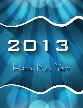 twenty thirteen: New year shiny stylish 2013 bright blue wave colorful vector