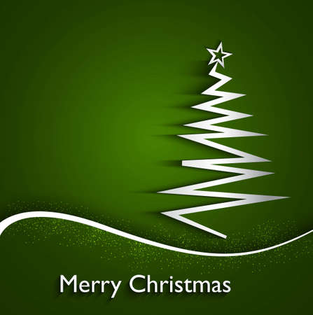 merry christmas stylish shiny tree colorful green wave background  Vector
