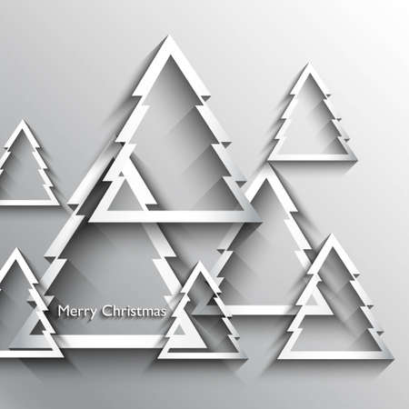 Simple merry christmas tree shiny original new year card vector Vector