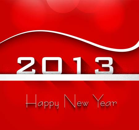 New year shiny stylish 2013 bright red wave colorful vector background Stock Vector - 18210635