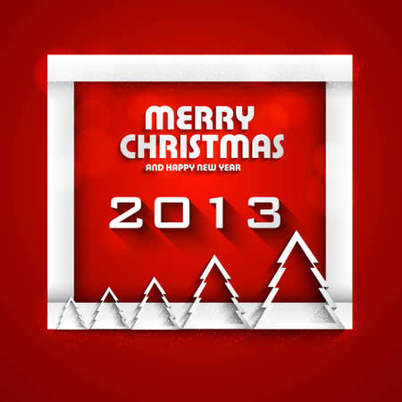 New year shiny stylish 2013 christmas tree red colorful card background vector Vector