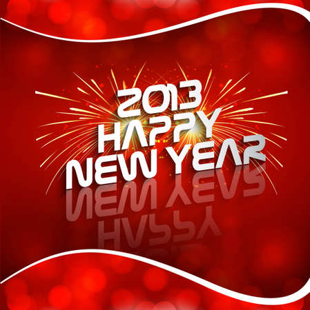 Happy new year 2013 red colorful celebration circle wave vector design Stock Vector - 18210632