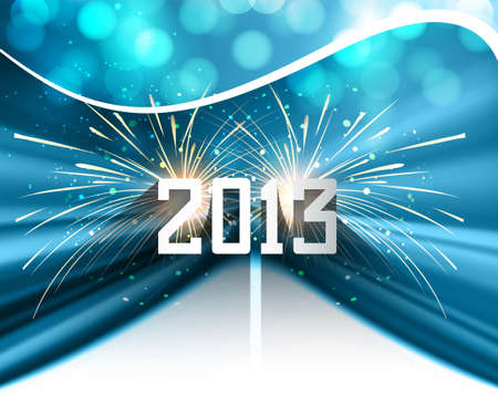 Happy new year 2013 blue colorful celebration circle wave vector illustration Vector