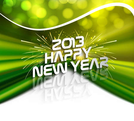 Happy new year 2013 green colorful celebration circle wave design vector Stock Vector - 18210630