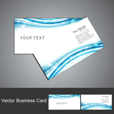 business card set vector blue colorful stylish wave Stock Vector - 18238278