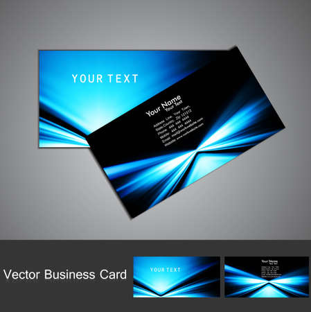 business card set vector bright  blue colorful stylish wave  design Illustration