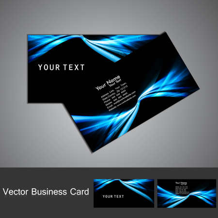 business card set vector bright  blue colorful wave  design Stock Vector - 18238257