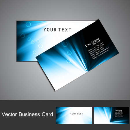 business card set vector bright  blue colorful wave  design Vector