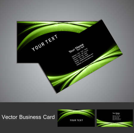 Business card set vector bright  green colorful wave  design Stock Vector - 18238253
