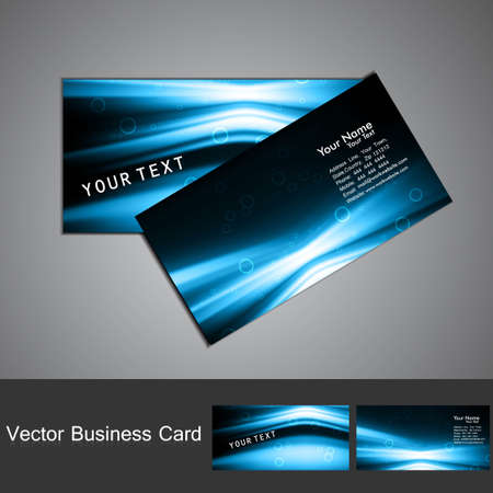 Business card set vector shiny bright  blue colorful wave   Vector