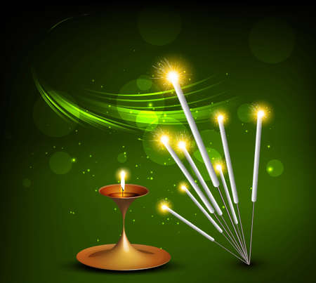 happy diwali vector festival crackers on diya green colorful background Vector