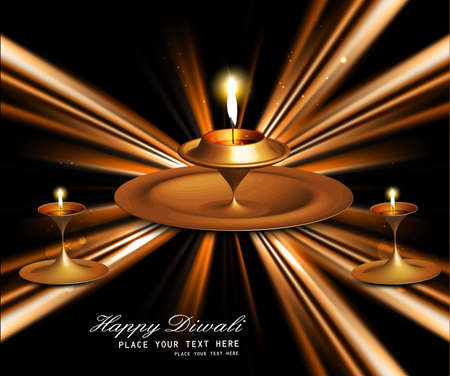 Happy diwali bright beautiful illuminating diya stylish rays wave vector  Vector