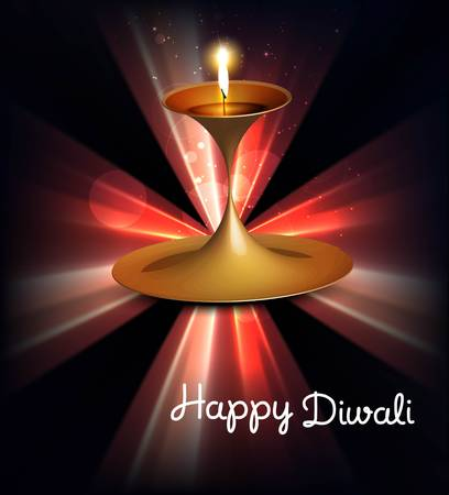 Happy diwali illuminating colorful diya stylish rays wave background Vector