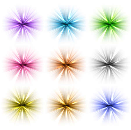 whit: abstract shiny colorful rays set backgrounds whit vector